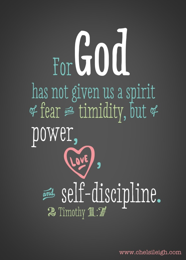 For God has not given us a spirit of fear with signature